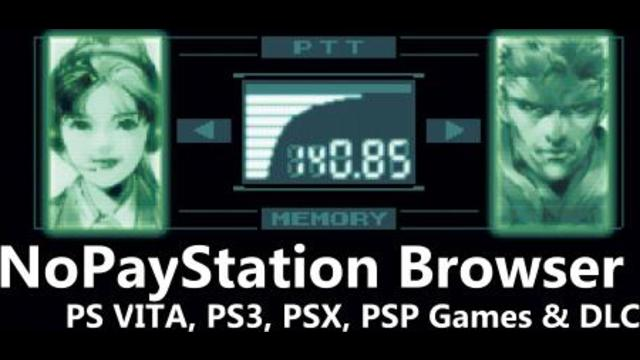 NoPayStation Browser - Install PS VITA, PS3, PS1 and PSP content for